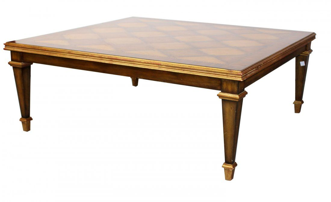 Inlaid mahogany coffee table on tapered legs