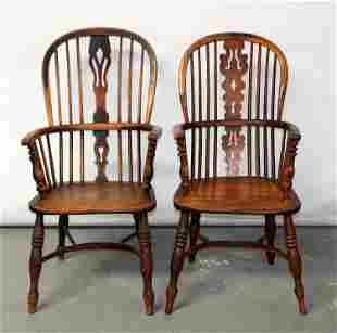 Pair of companion windsor back armchairs