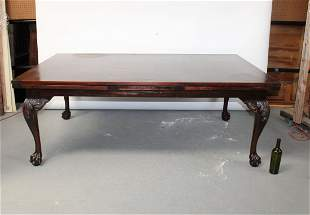 Chippendale mahogany draw leaf dining table
