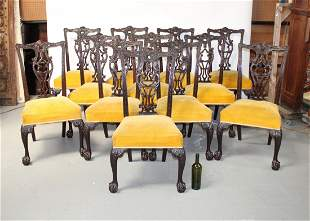 Set of 12 Chippendale mahogany dining chairs