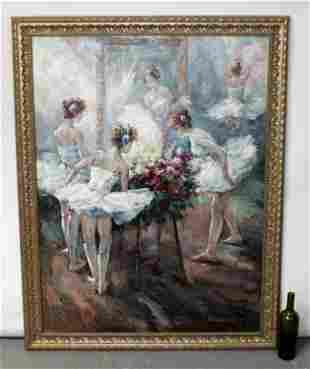 C. Burchfield oil on canvas of Ballerinas