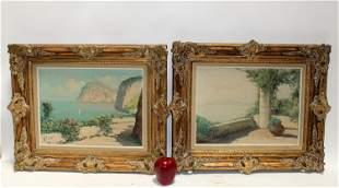 Companion pair of Italian seascape paintings