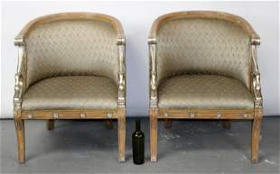 Pair of Empire style curved back chairs with swans