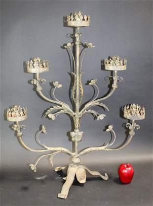 Wrought iron 5-arm candelabra