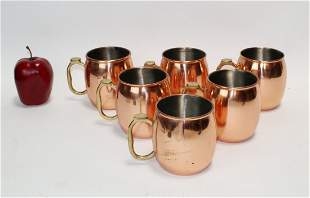 Set of 6 copper moscow mule mugs