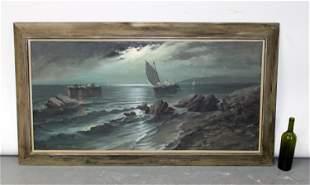 Italian Oil on canvas seascape signed Ciappa