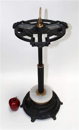 Art Deco iron and onyx smoking stand