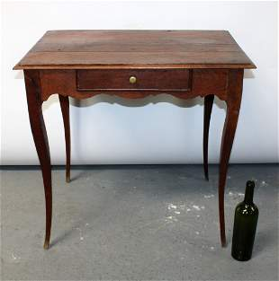 French Louis XV style oak side table with scallop edge