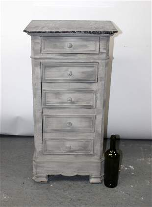 French Napoleon III chevet. Painted finish with marble