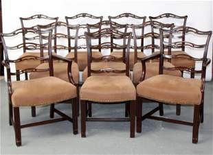 Set of 10 Duncan Phyfe style mahogany chairs