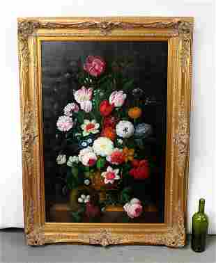 Oil on canvas depicting floral still life