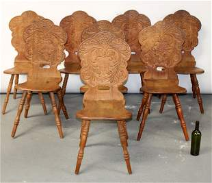 Set of 8 Victorian carved back oak hall chairs