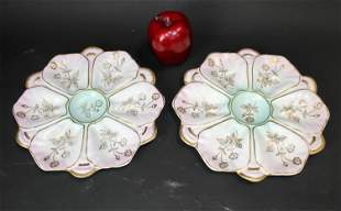 Pair of French porcelain oyster plates