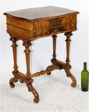 Antique English sewing table in walnut