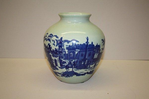 "1A: Blue and white ironstone vase ""Victoria ware"""