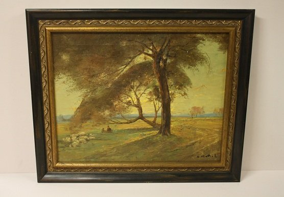 2: Italian oil on canvas landscape. Signed