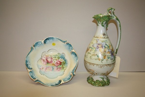 5A: Handpainted porcelain pitcher and bowl