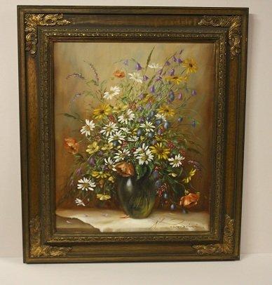 16: Oil on canvas stilllife, signed N. Parisini on lowe