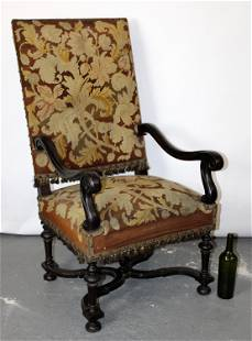 French Louis XIII style walnut armchair with tapestry