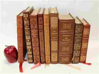 Lot of 9 Easton Press leather bound books