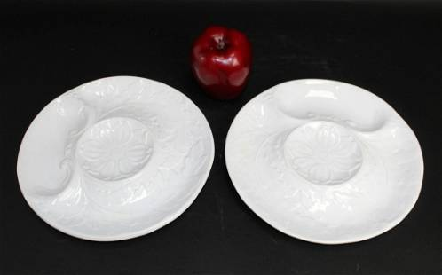 Lot of 2 Portuguese artichoke plates