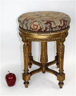 French Louis XVI giltwood piano stool