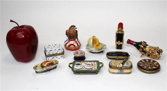 Lot of 10 Limoges hand painted trinket boxes