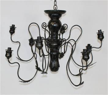 Scrolled Iron & painted wood 8-arm candle chandelier