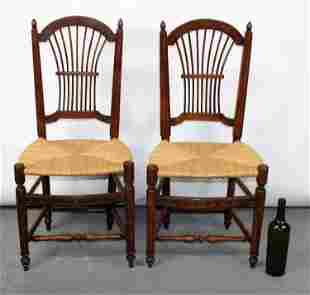 Pair of French wheat back rush seat chairs