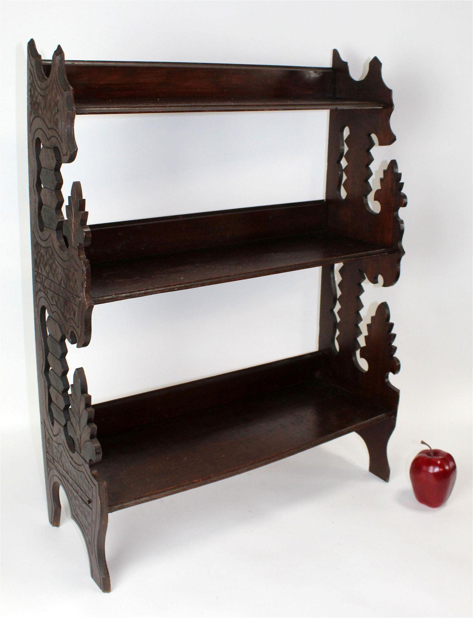 Black Forest style wall mount etagere shelf