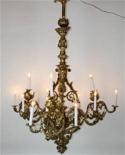 Victorian ornate polished bronze 12-light chandelier