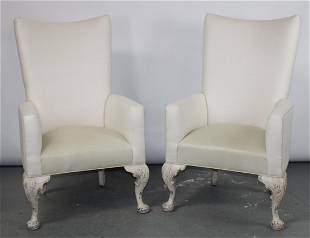 Pair Bungalow Modern club chairs with leather