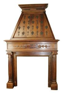 Antique French fireplace mantel with mansard hood