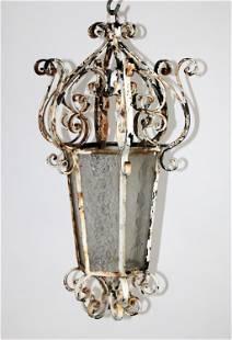 French scrolled iron lantern