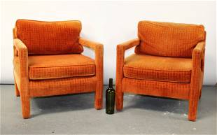 Pair of Milo Baughman style upholstered chairs