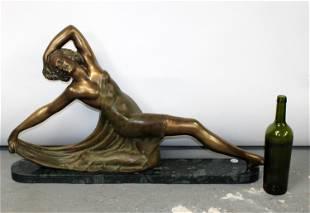 Art Deco female fiigural bronze sculpture