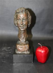 Helaine Blum bronze bust on marble base