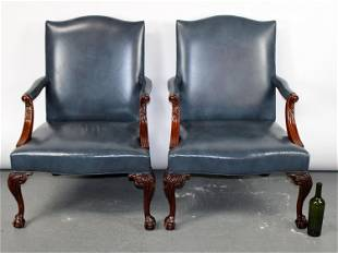 Pair of Southwood blue leather armchairs