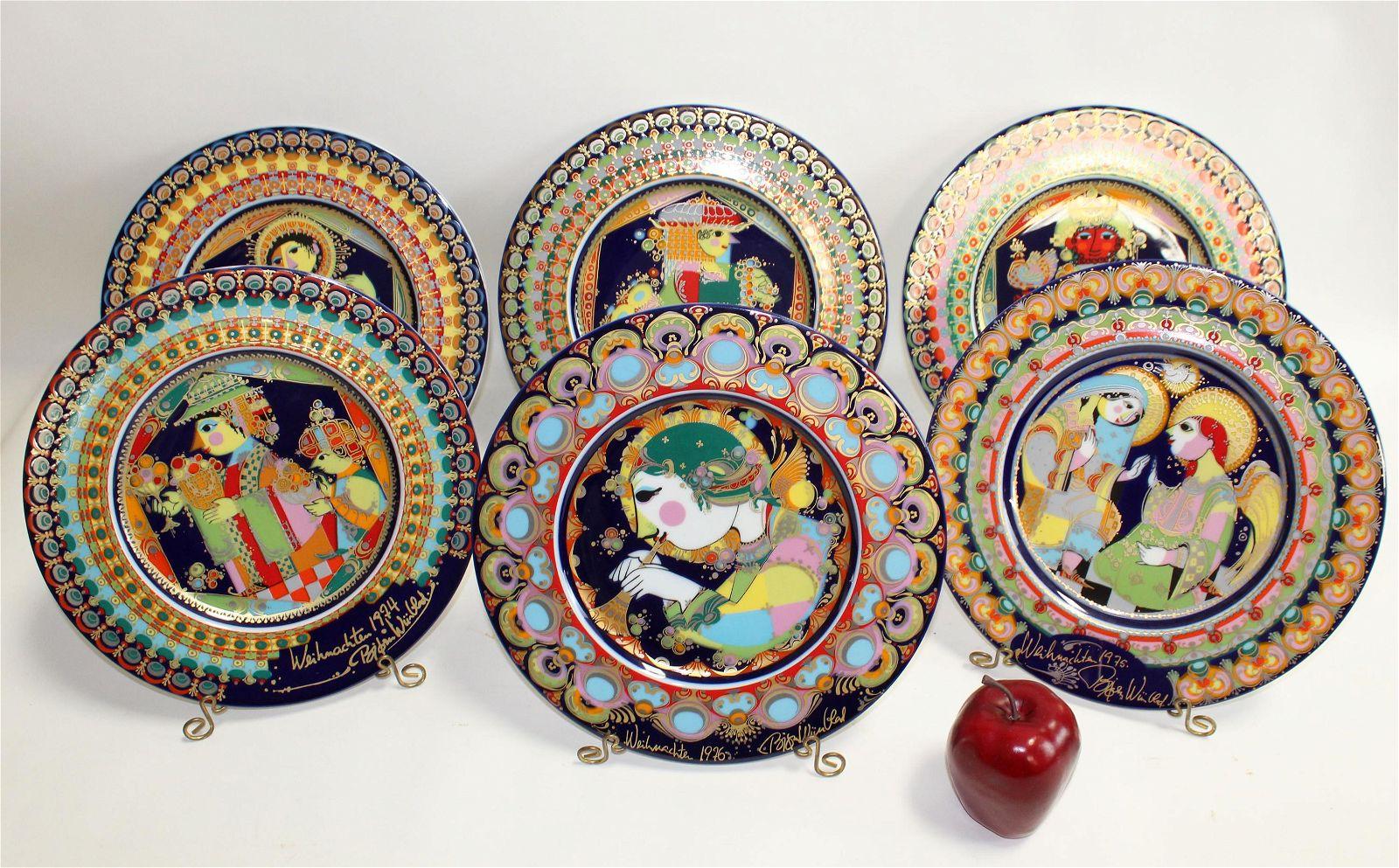 Lot of 6 Rosenthal Bjorn Wiinblad plates