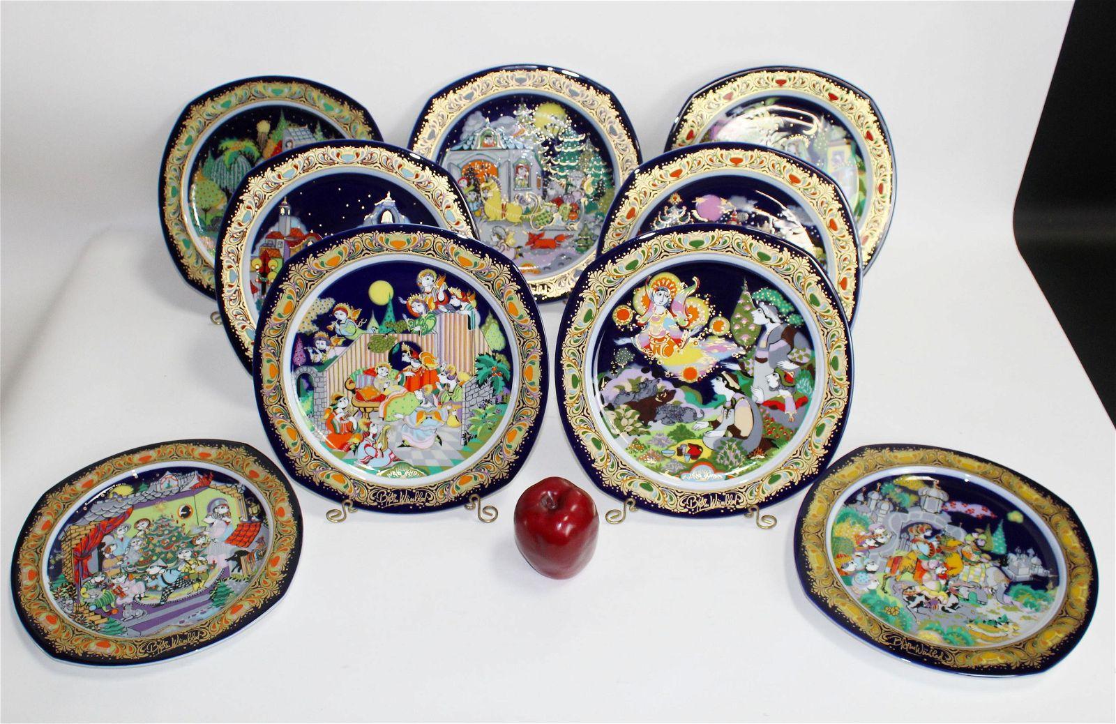 Lot of 9 Rosenthal Bjorn Wiinblad Christmas plates