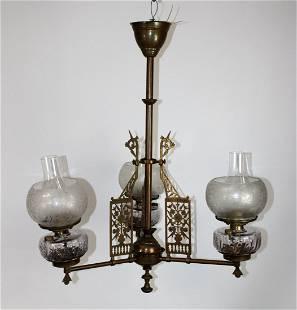 Antique American 3-arm oil lamp chandelier