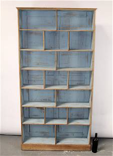 French painted pine store display open bookcase