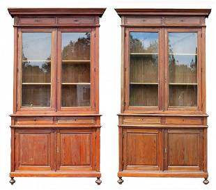 Pair HUGE French pine bookcases - almost 11 feet tall