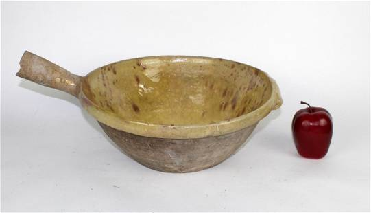 Antique French glazed terra cotta tian bowl