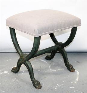 Italian polychrome stool with paw feet