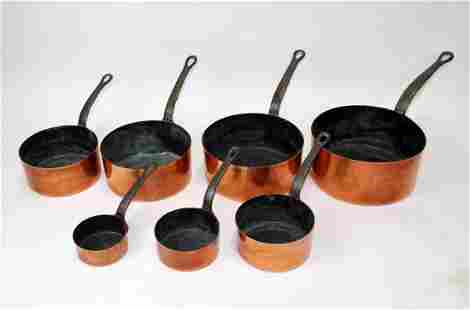 French copper nest of 7 saucepans