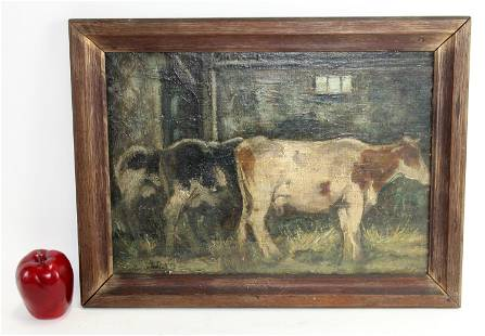 Oil on board painting pastoral with cows
