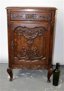 French Louis XV style oak confiturier cabinet