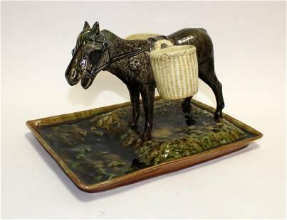 French Majolica tray with donkey