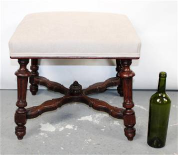 French carved oak foot stool with fluted legs
